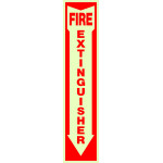 "Adhesive Glow-in-the-Dark Fire Extinguisher Arrow Sign, 4"" x 18"""
