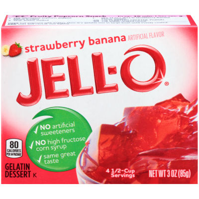 Jell-O Strawberry Banana Gelatin Mix 3 oz Box