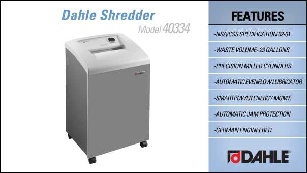 Dahle 40334 High Security Small Office Shredder InfoGraphic