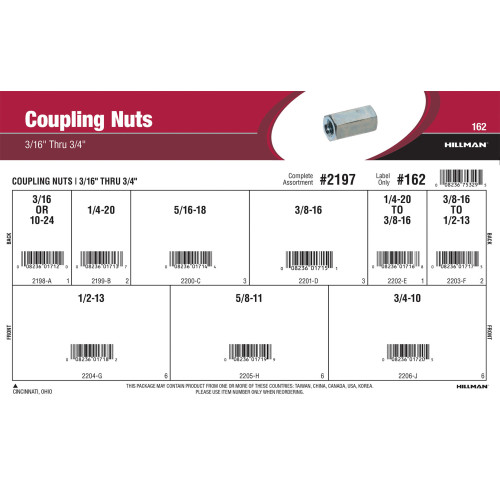 Coupling Nuts Assortment (3/16
