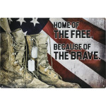 """Aluminum Home of the Free, Because of the Brave Sign, 12"""" x 18"""""""