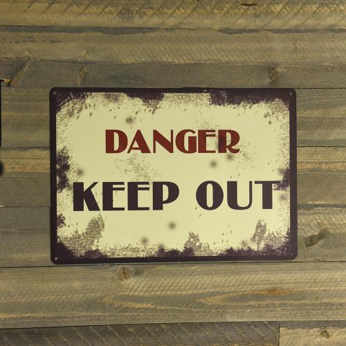 Aluminum Vintage Danger Keep Out Sign, 10