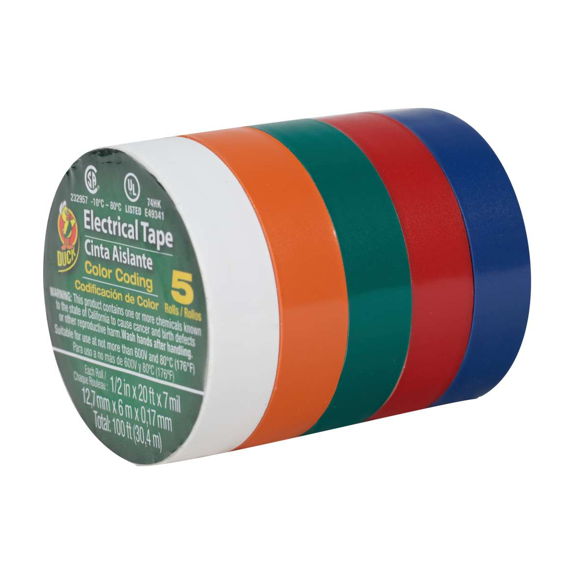 Duck® Brand Professional Color Coding Electrical Tape - Multi-Color, 5 pk, .5 in. x 20 ft. x 7 mil. Image