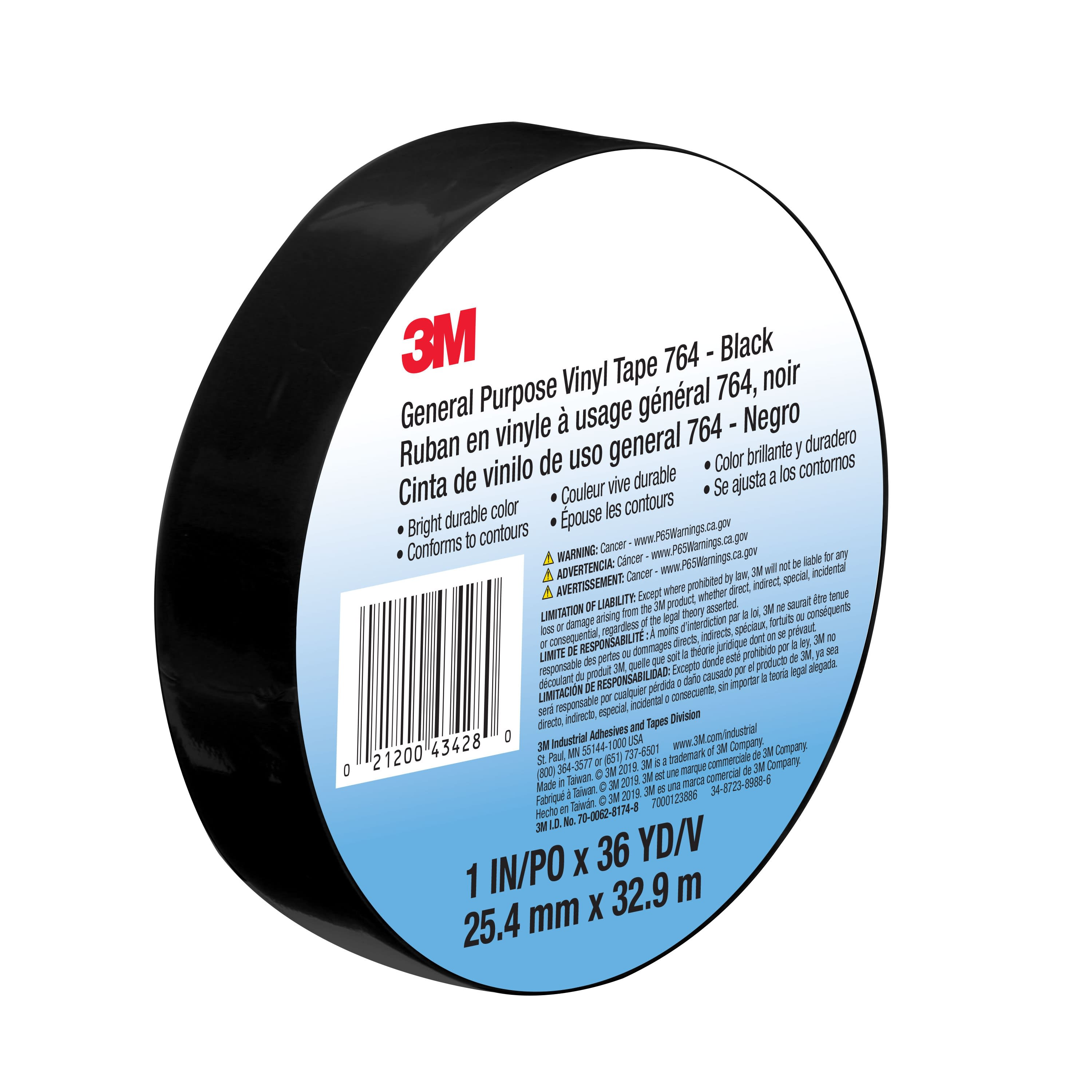 3M™ General Purpose Vinyl Tape 764, Black, 1 in x 36 yd, 5 mil, 36 Roll/Case, Individually Wrapped Conveniently Packaged