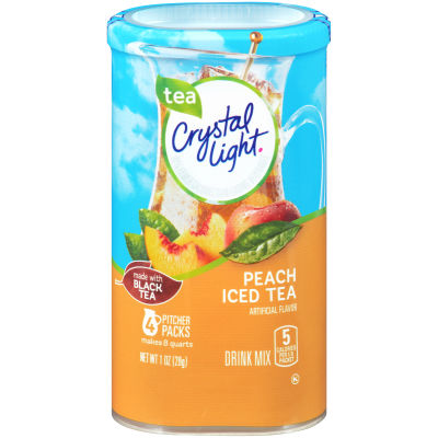 Crystal Light Peach Iced Tea Drink Mix 4 count Canister