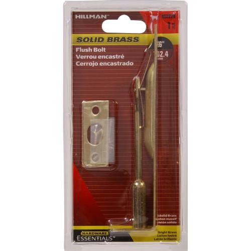 Solid Brass/Bright Brass Flush Bolt 6in
