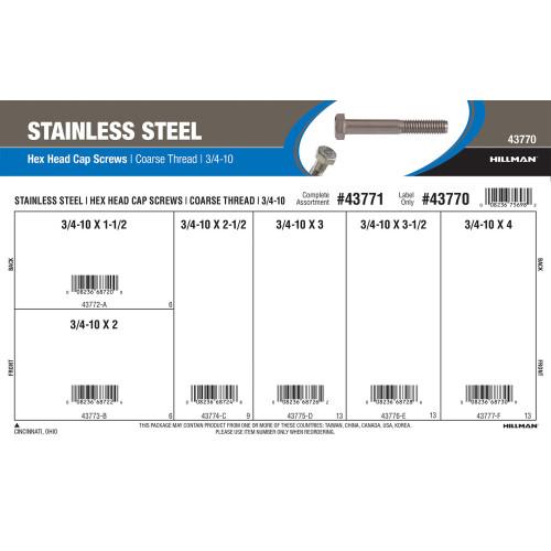 Stainless Steel Hex Cap Screws Assortment (3/4