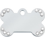Chrome with Clear Crystals Small Bone Quick-Tag