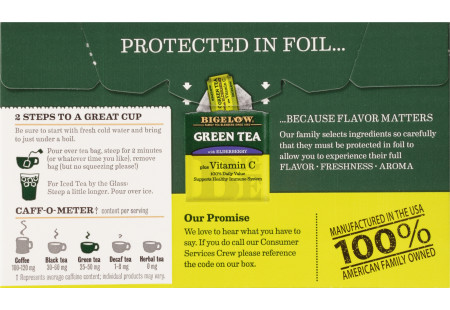 Back of Green Tea with Elderberry plus Vitamin C box
