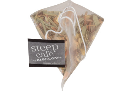 steep cafe by Bigelow organic full leaf lemon ginger herbal tea pyramid bag