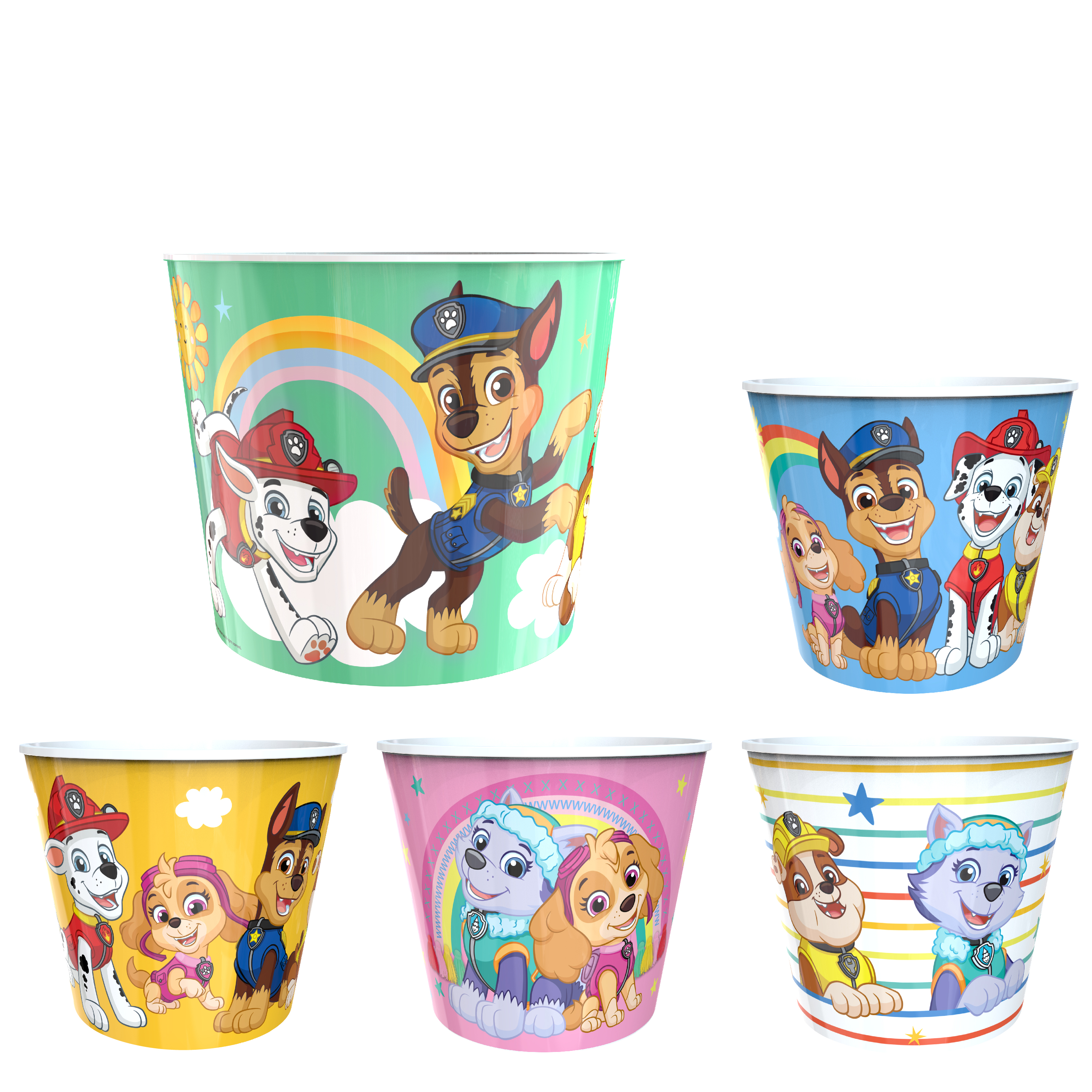 Paw Patrol Plastic Popcorn Container and Bowls, Chase, Marshall and Friends, 5-piece set image