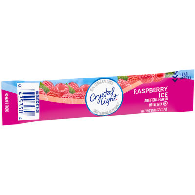 Crystal Light On-The-Go Sugar-Free Powdered Raspberry Ice Drink Mix 0.06 oz Wrapper