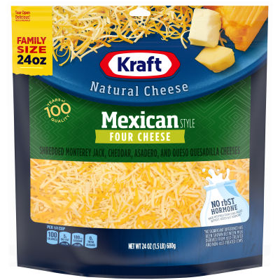 Kraft Mexican Style Four Cheese Shredded Natural Cheese 24 oz Pouch