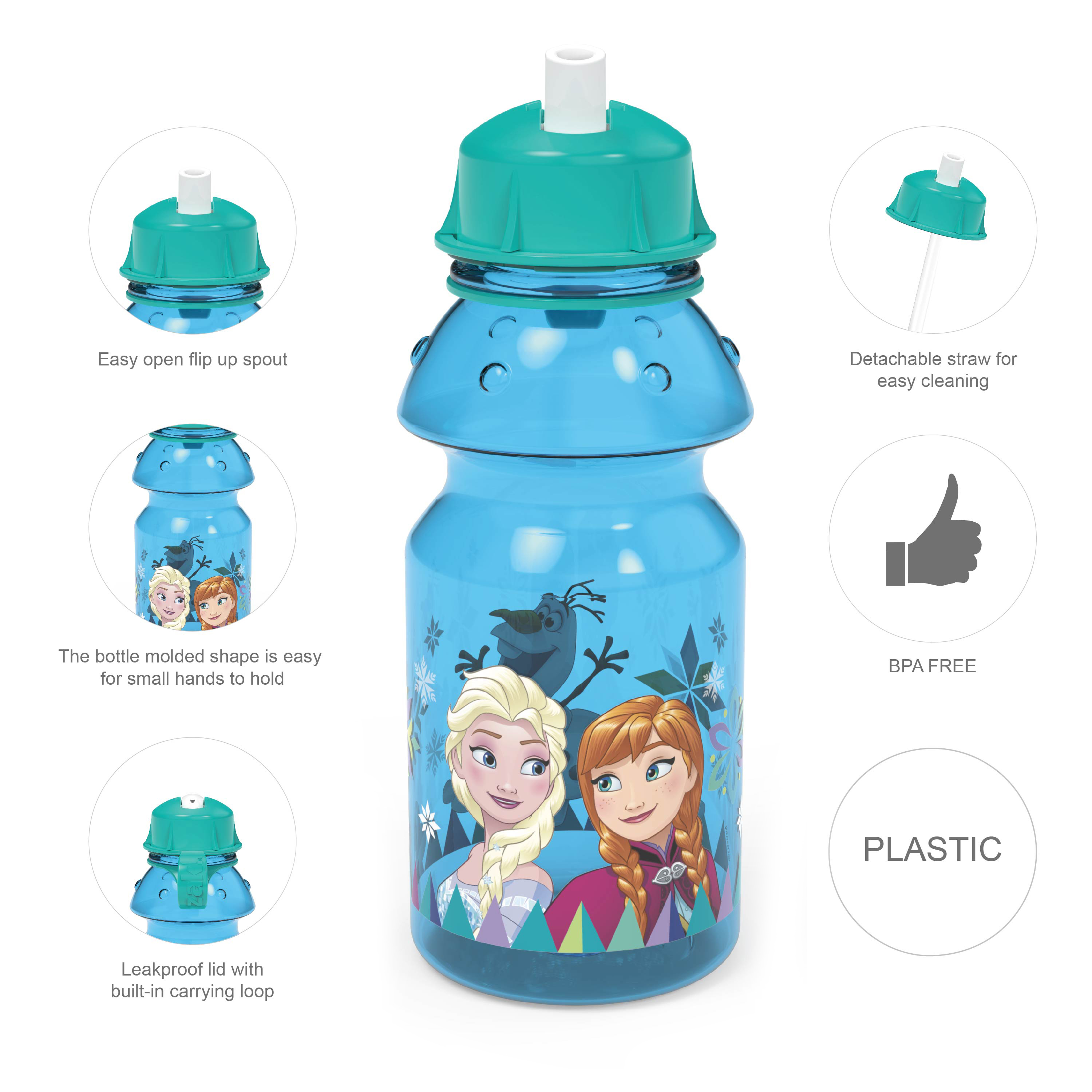 Disney Frozen 14 ounce Water Bottle, Anna, Elsa and Olaf slideshow image 8