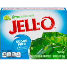 Jell-O Lime Sugar Free Gelatin Mix, 0.6 oz Box