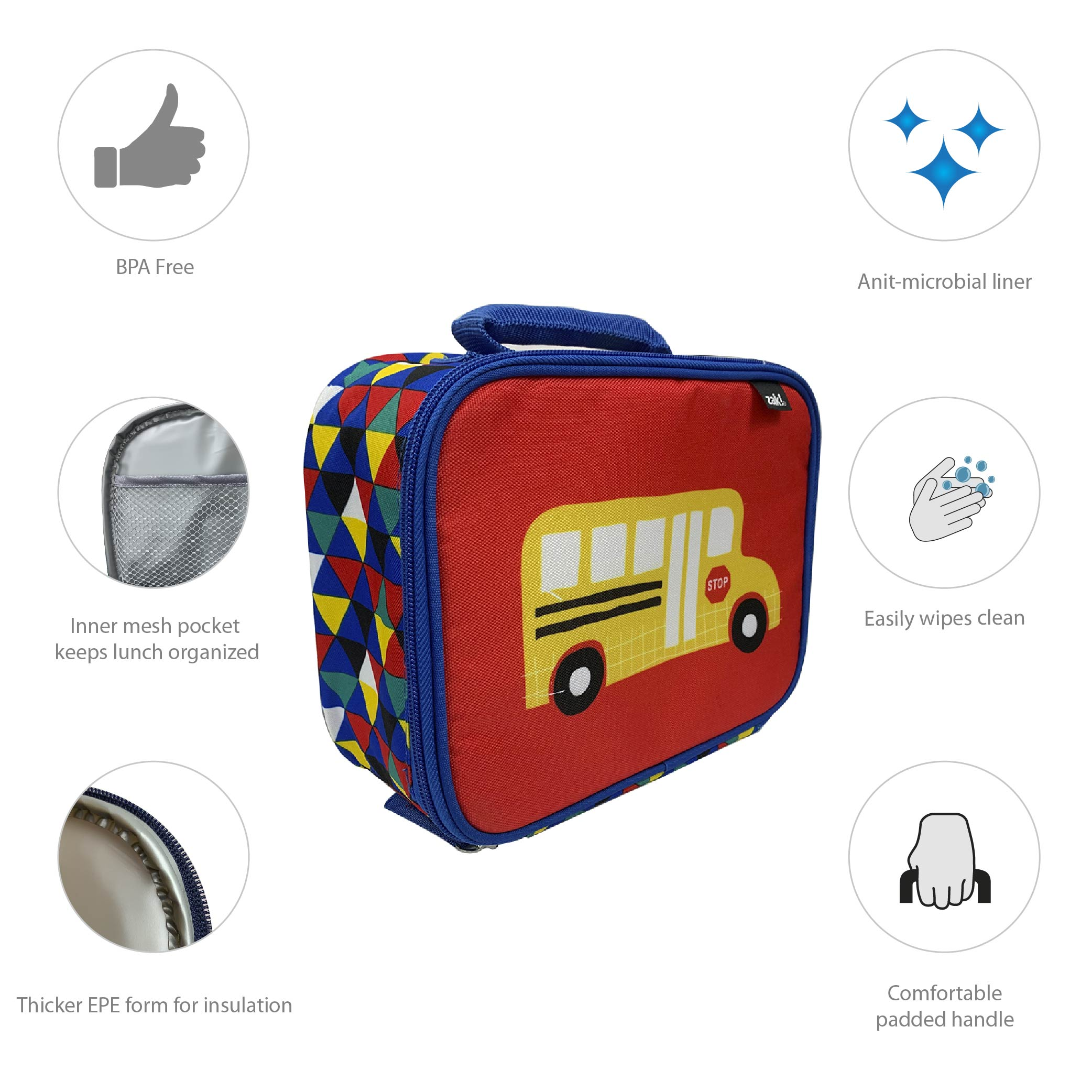 Grid Lock Insulated Reusable Lunch Bag, Buses slideshow image 5