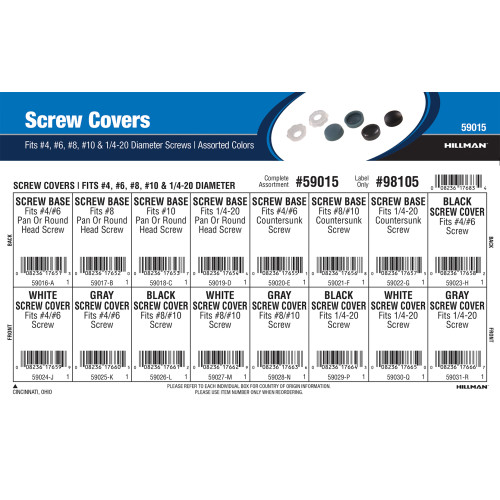 Assorted Color Screw Covers Assortment (Fits #4, #6, #8, #10, & 1/4
