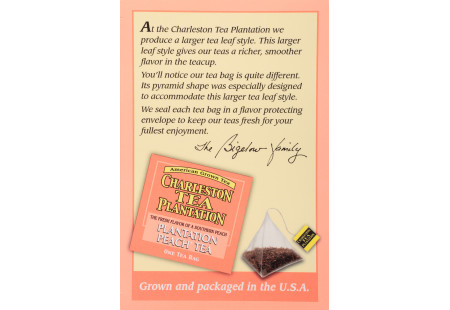 Plantation  Peach® Tea  Pyramid Bags- Case of 6 boxes- total of 72 teabags