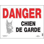 """French Beware of Dog Sign (12"""" x 16"""")"""
