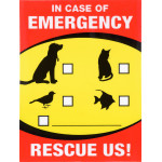 "In Case of Emergency Pet Rescue Sign, 4"" x 6"""