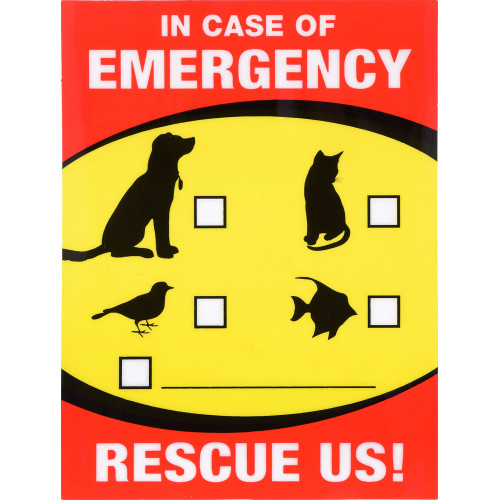 In Case of Emergency Pet Rescue Sign, 4