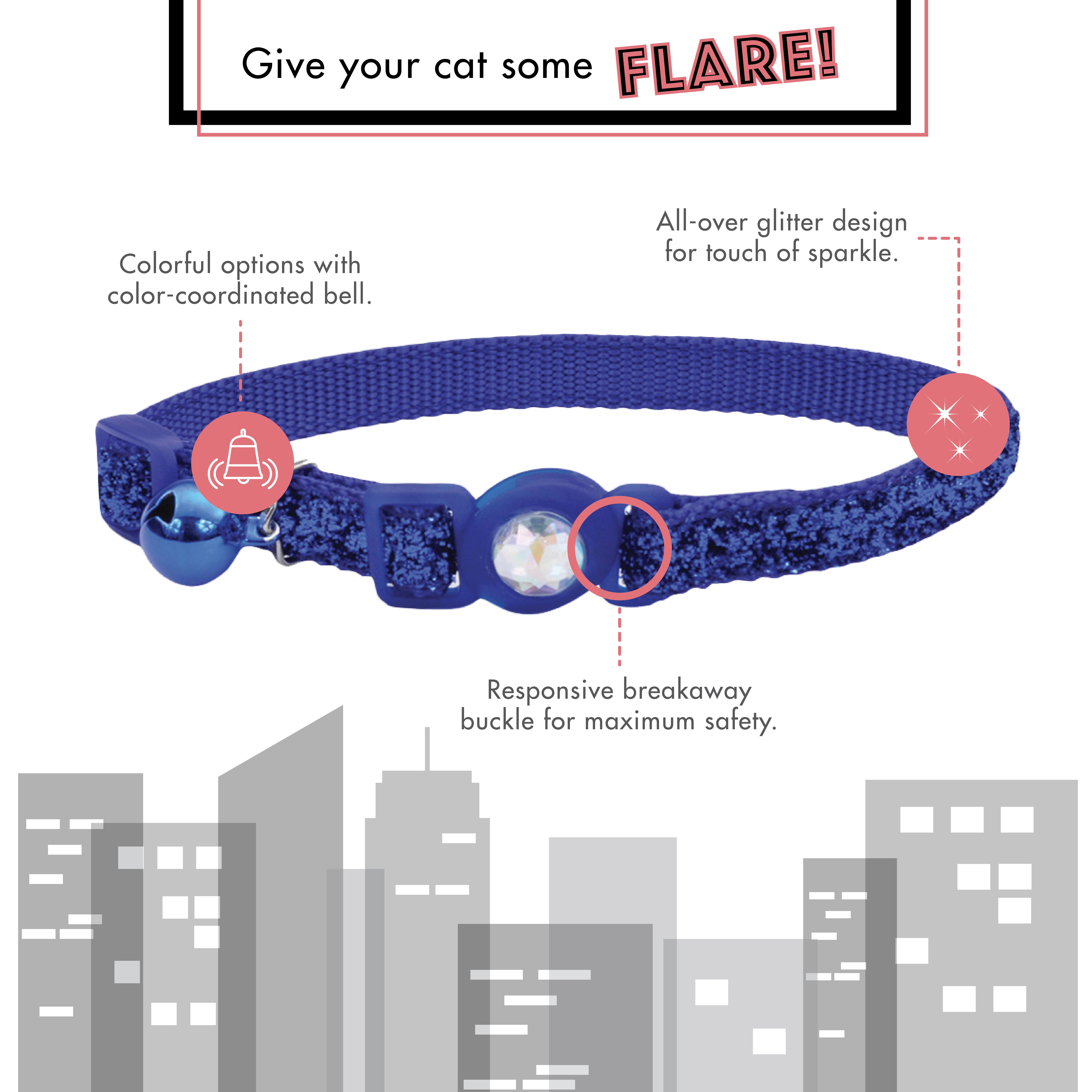 Safe Cat® Jeweled Buckle Adjustable Breakaway Cat Collar with Glitter Overlay