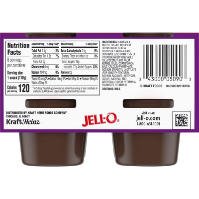 Jell-O Ready to Eat Sugar Sweetened Chocolate Pudding Cups, 31 oz Sleeve (8 Cups)