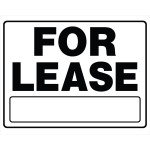 """Plastic Black and White For Lease Sign, 20"""" x 24"""""""