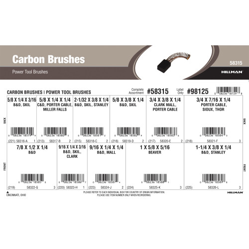 Carbon Brushes Assortment (For Power Tools)