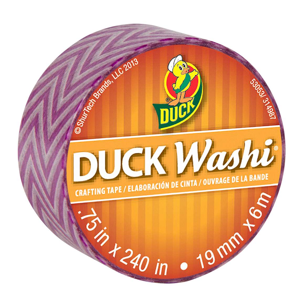 Duck Washi® Crafting Tape - Purple Chevron, .75 in. x 240 in. Image