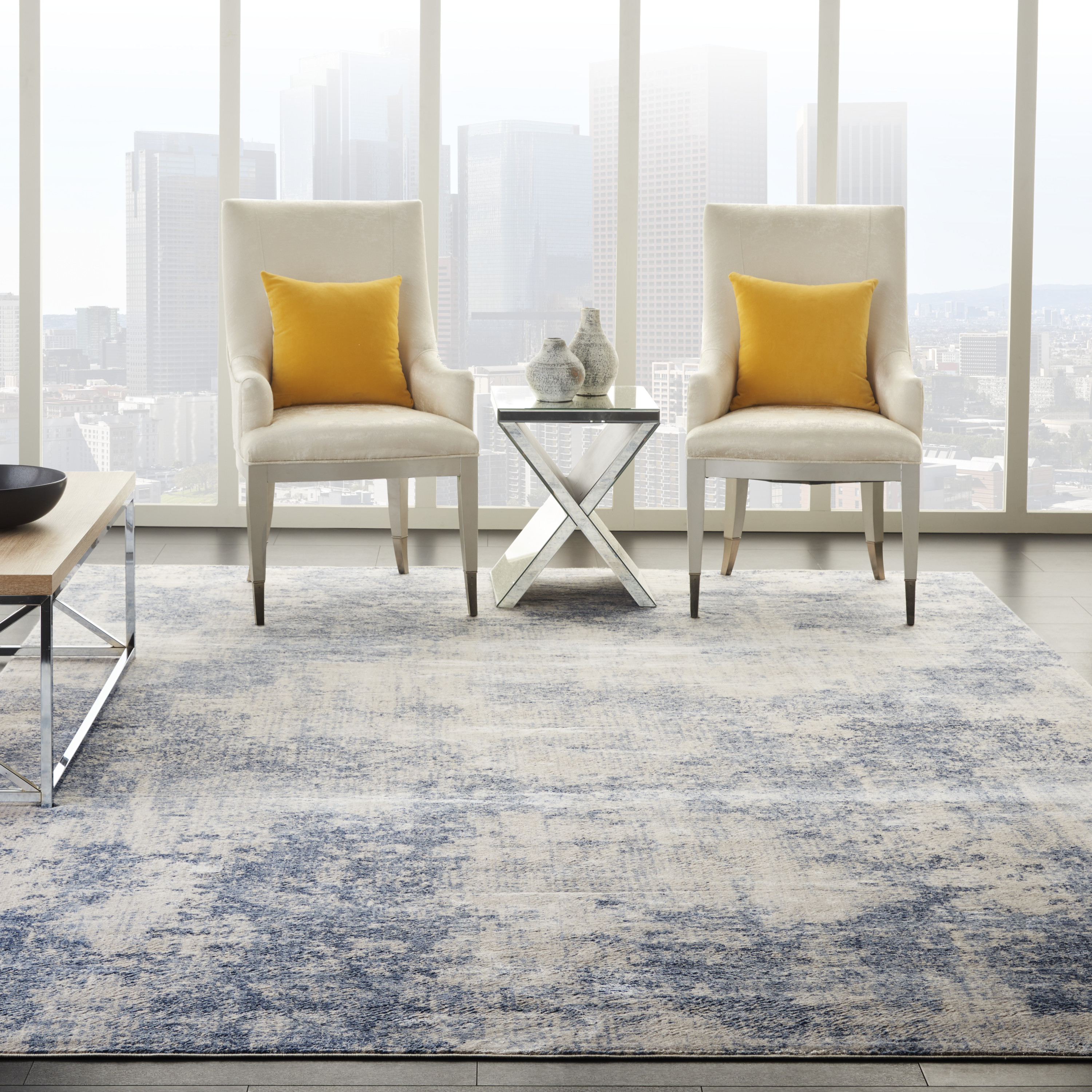 Nourison Silky Textures SLY01 Ivory Blue Rug