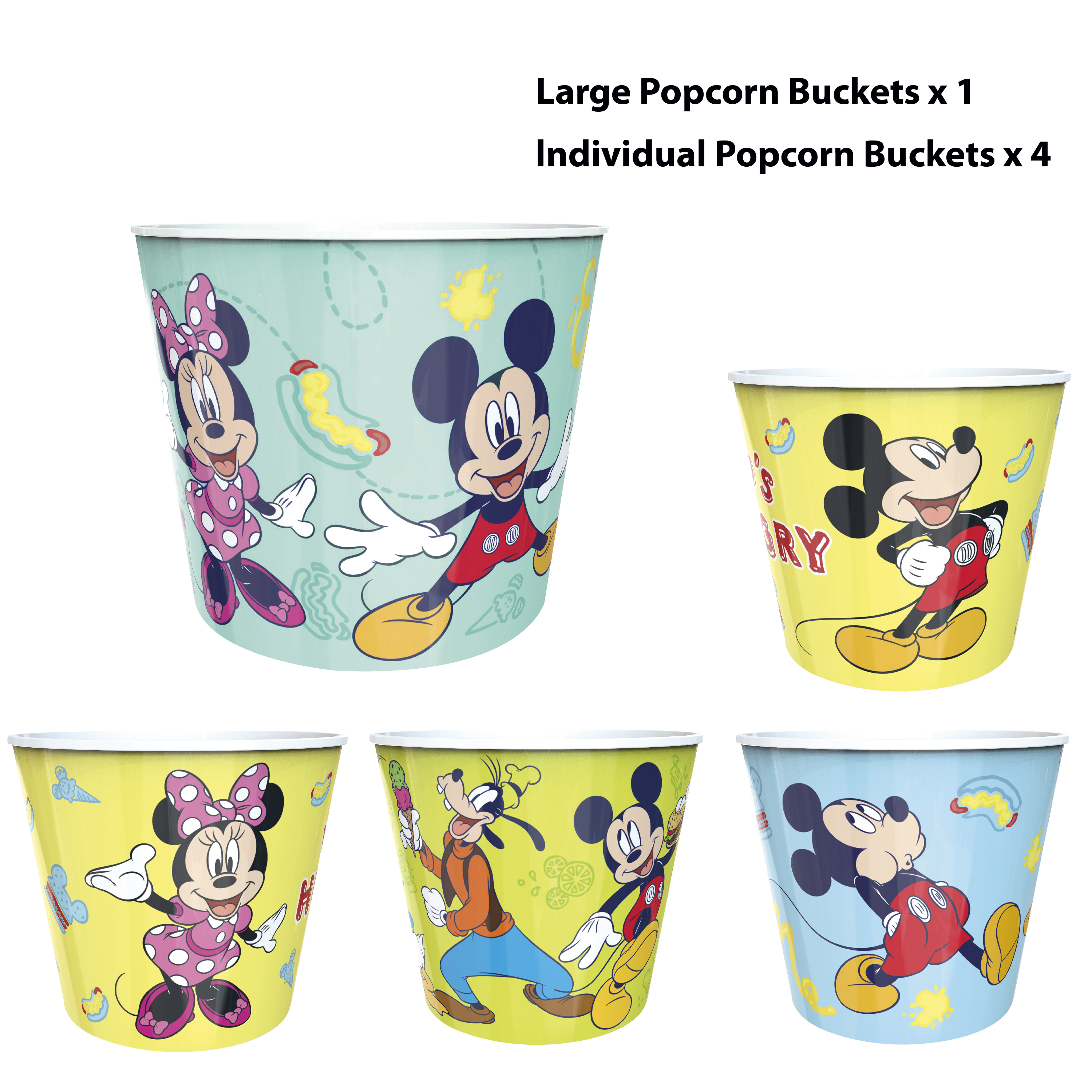 Disney Plastic Popcorn Container and Bowls, Mickey Mouse and Minnie Mouse, 5-piece set slideshow image 12