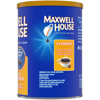 Maxwell House 2x Energy Boost Original Medium Roast Ground Coffee, 11.5 oz Canister