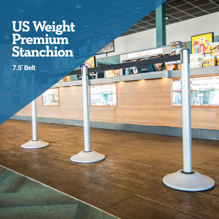 Premium Steel Stanchion - Silver with Caution belt 2