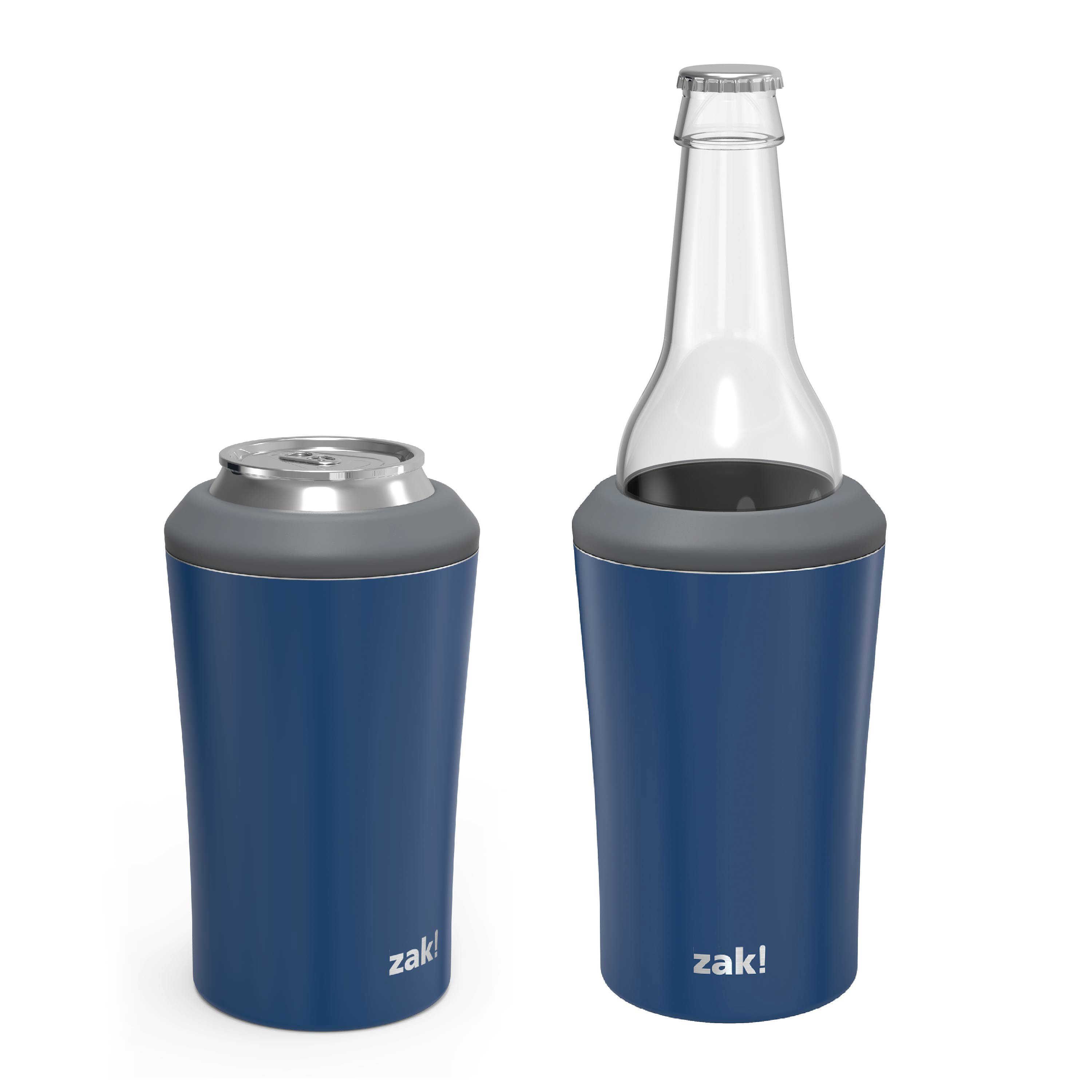 Zak Hydration 12 ounce Double Wall Stainless Steel Can and Bottle Cooler with Vacuum Insulation, Indigo slideshow image 2