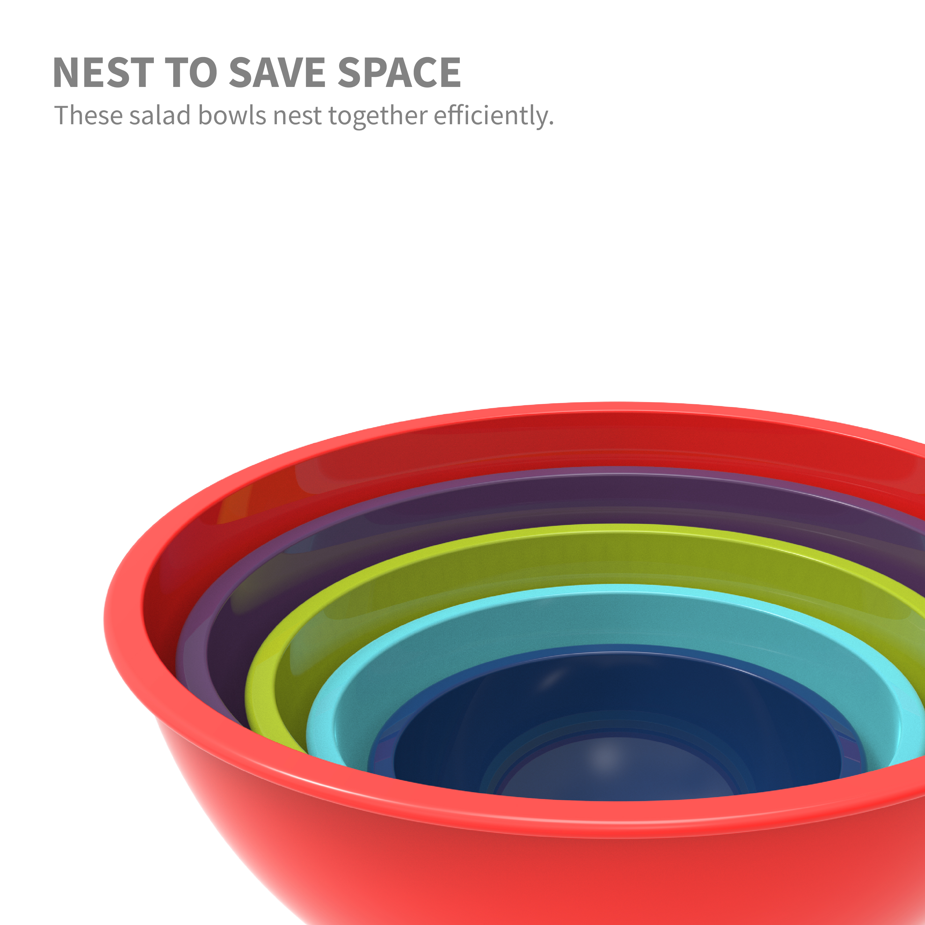 Colorway Plastic Serving and Mixing Bowl Set, Blue and Red, 5-piece set slideshow image 3