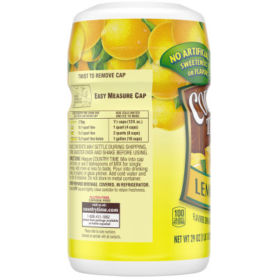 Country Time Lemonade Flavored Powder Drink Mix, 29 oz Canister