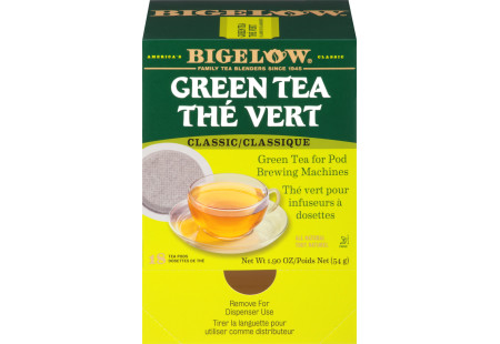 Front of Green Tea for Pod Brewing Machines box