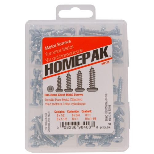 HOMEPAK Pan Head Square Drive Sheet Metal Screws Assortment