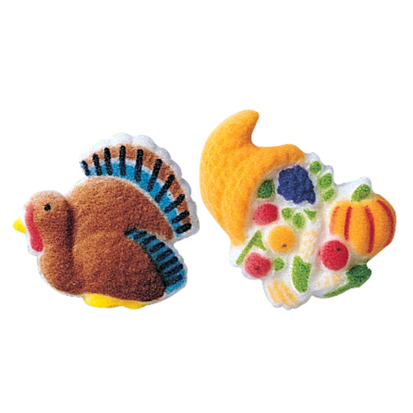 Turkey and Cornucopia Assortment Dec-Ons® Decorations