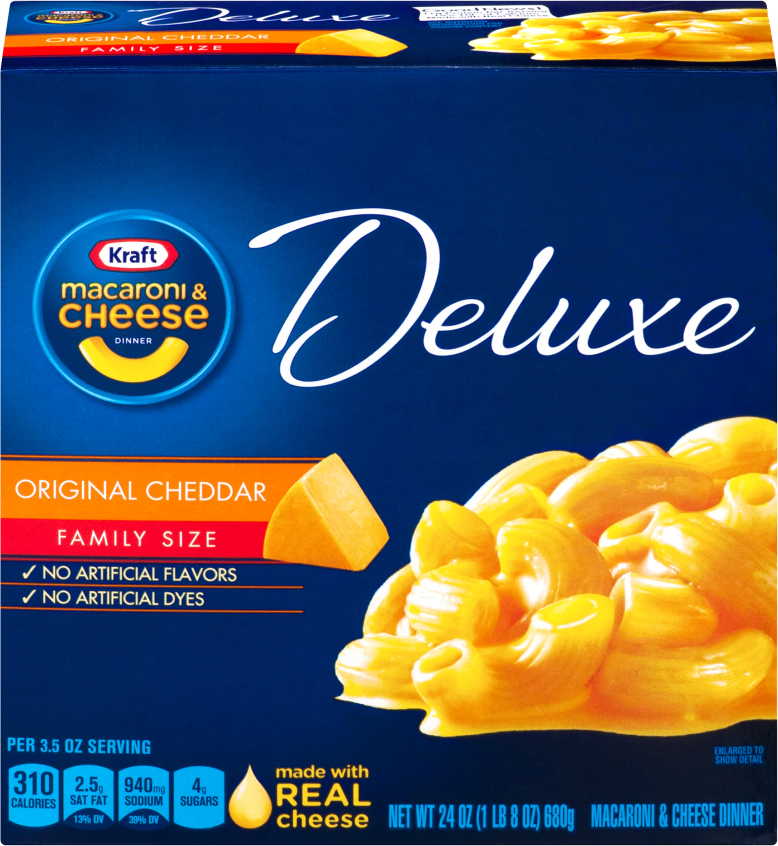 Kraft Dinners Deluxe Original Cheddar Family Size Macaroni & Cheese Dinner 24 Oz Box image
