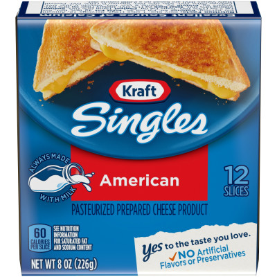 Kraft Singles American Cheese Slices, 8 oz (12 slices)
