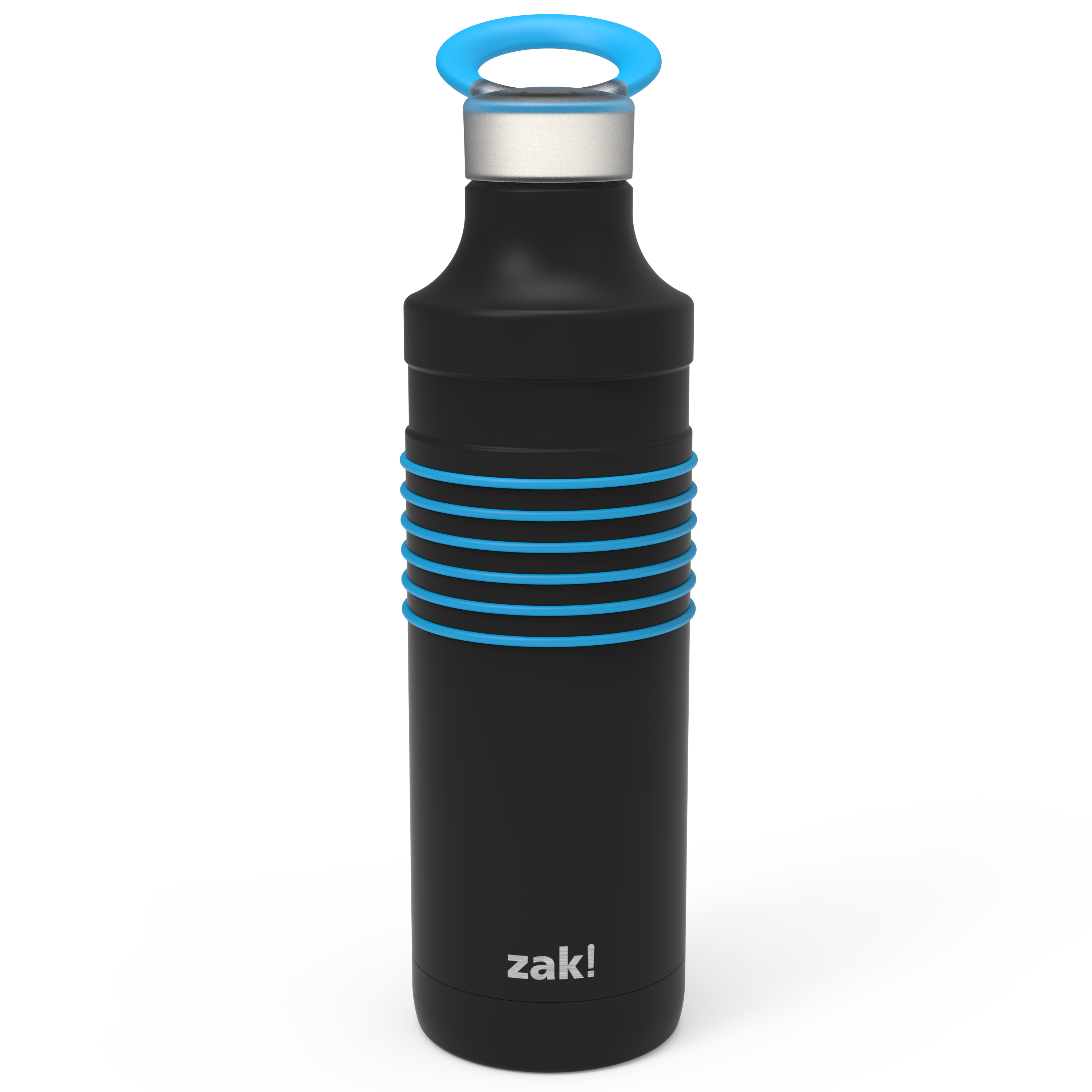 HydraTrak 22 ounce Vacuum Insulated Stainless Steel Tumbler, Black with Blue Rings slideshow image 2