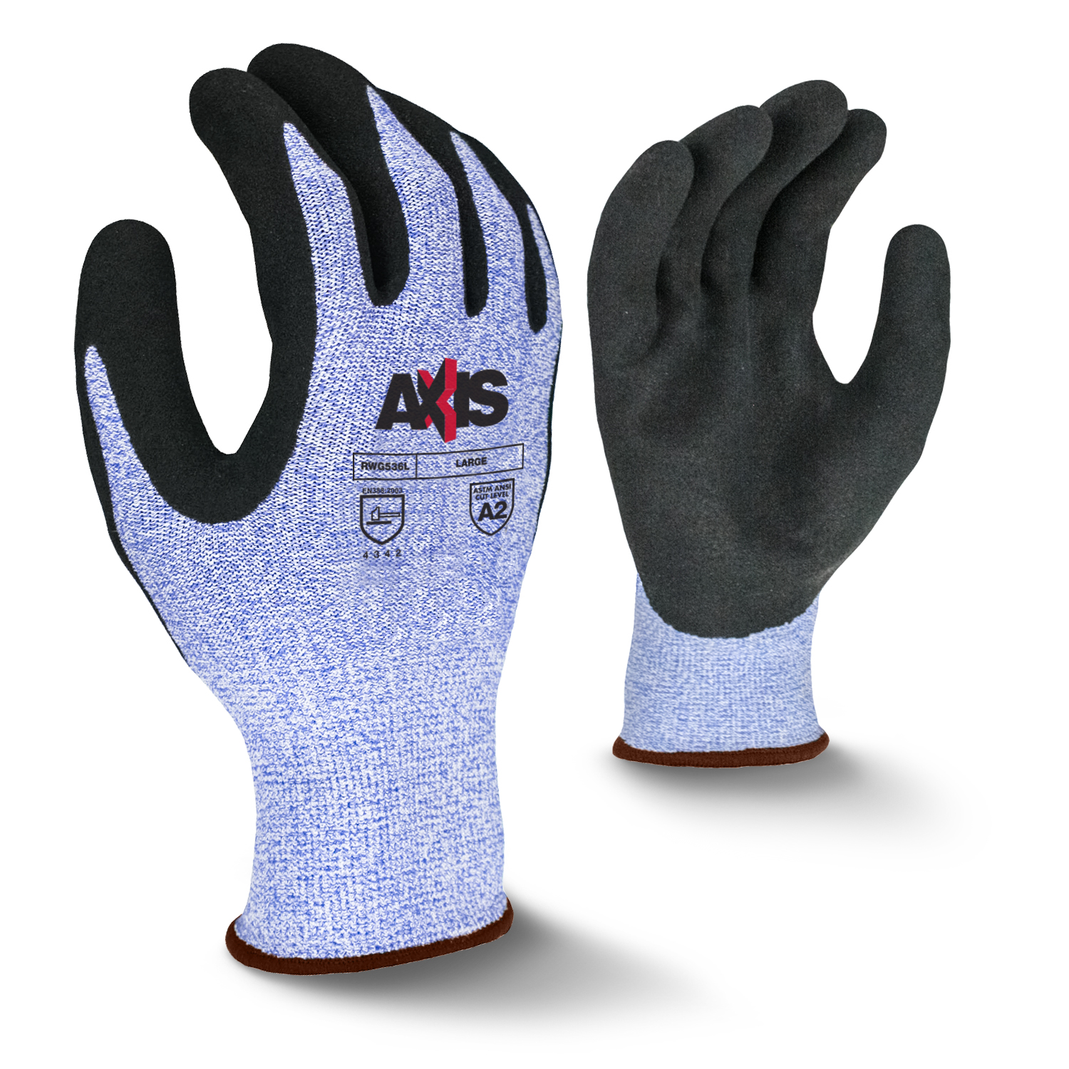 Radians RWG536 AXIS™ Cut Protection Level A2 Micro Sandy Foam Latex Coated Glove