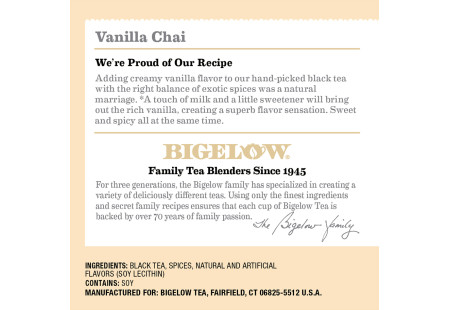 Ingredient Panel of Bigelow Vanilla Chai Black Tea K-Cups Box for Keurig