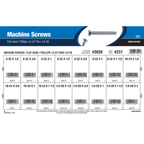Phillips Flat-Head Machine Screws Assortment (#6-32 thru 1/4
