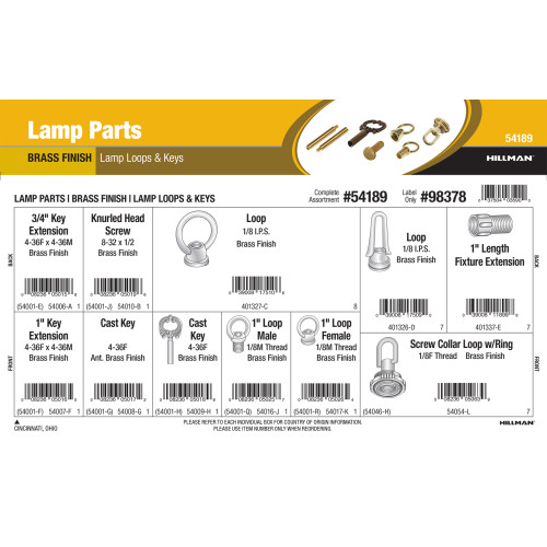 Brass Lamp Parts Assortment (Lamp Loops & Keys)