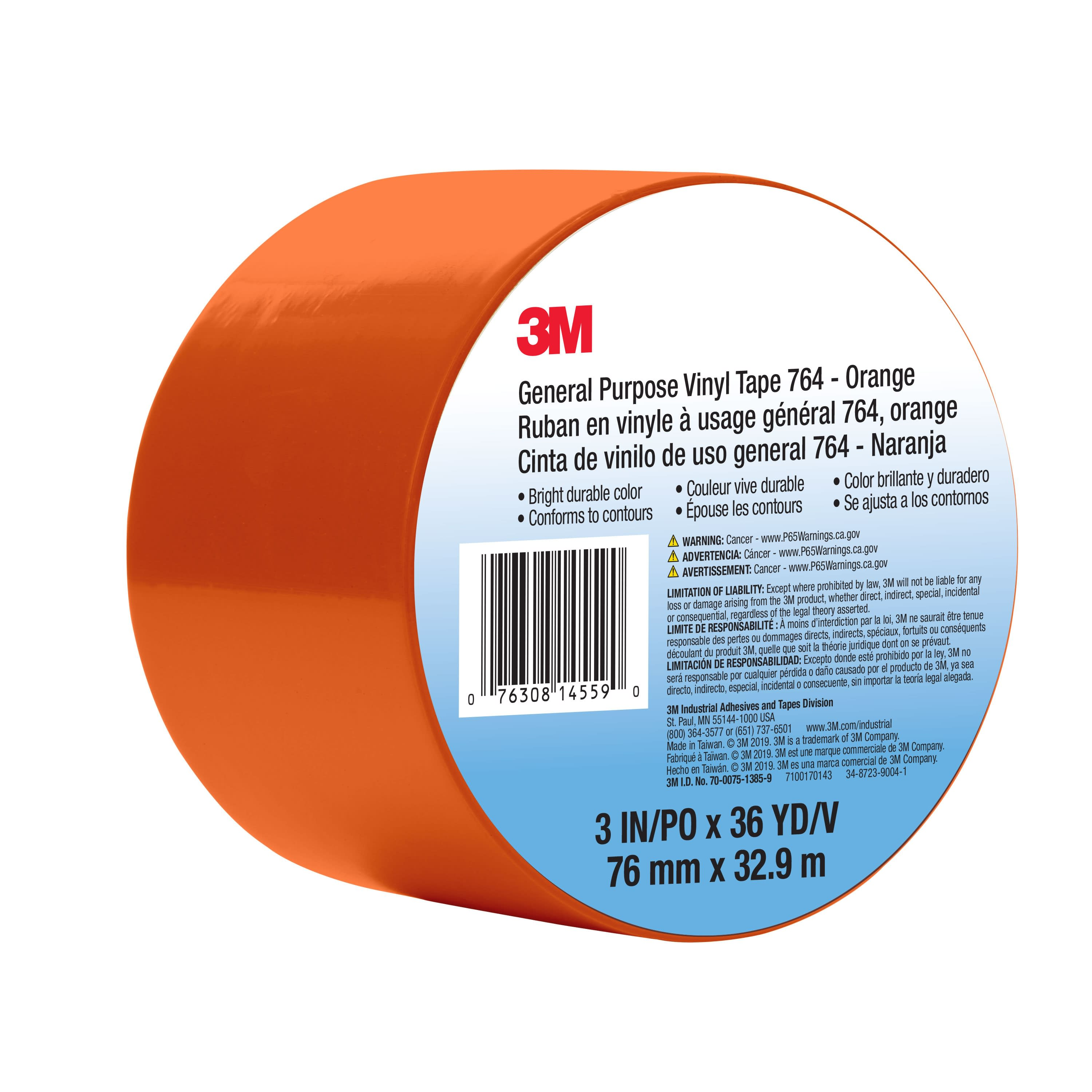 3M™ General Purpose Vinyl Tape 764, Orange, 3 in x 36 yd, 5 mil, 12 Roll/Case, Individually Wrapped Conveniently Packaged