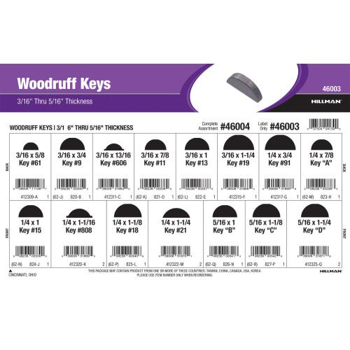 Woodruff Keys Assortment (3/16