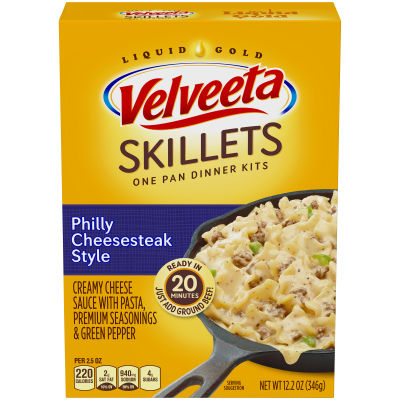 Velveeta Cheesy Skillets Philly Cheesesteak Style Dinner Kit, 12.2 oz Box